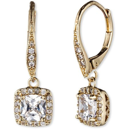 Anne Klein Gold Tone Square Rhinestone Earrings