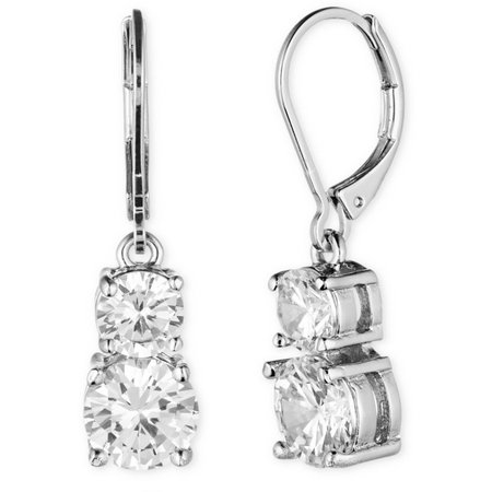 Anne Klein Double Rhinestone Drop Earrings