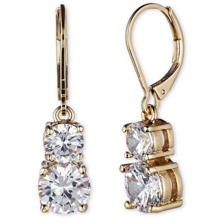 Anne Klein Gold Tone Double Crystal Drop Earrings