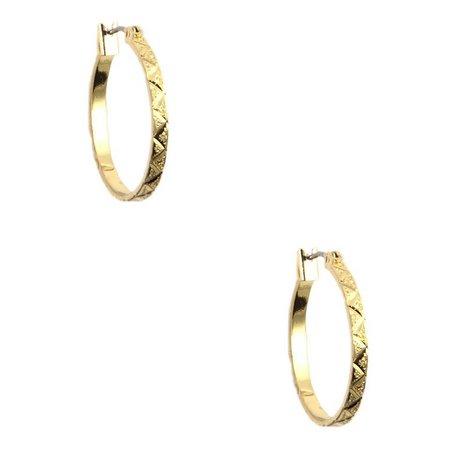 Anne Klein 1 in. Gold Tone Textured Hoop