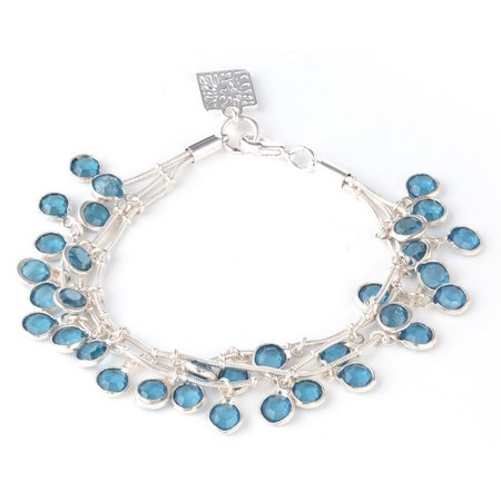 Anne Klein Triple Row Blue Rhinestone Bracelet