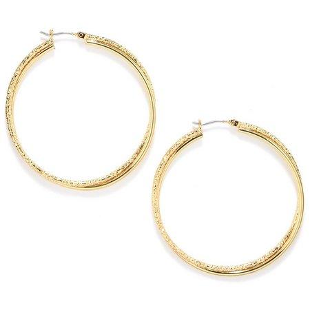 Anne Klein Gold Tone Twisted Medium Hoop Earrings