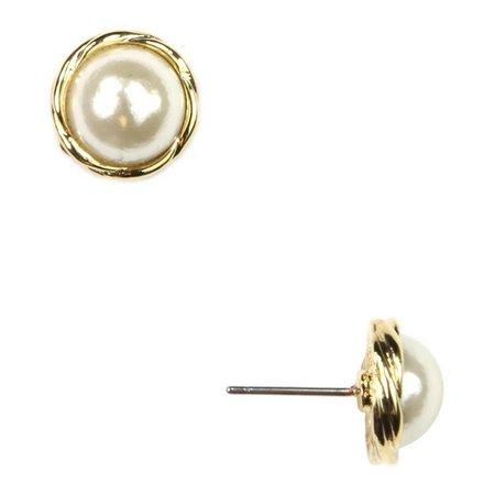Anne Klein Pearlescent Cushion Button Earrings