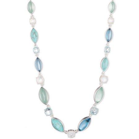Anne Klein Blue Multi Cabochon Collar Necklace