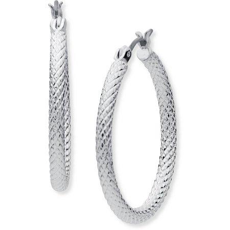 Anne Klein Silver Tone Textured Hoop Earrings