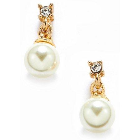 Anne Klein Pearlescent Drop Crystal Post Earrings