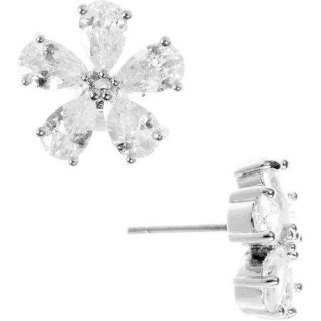 Anne Klein CZ Flower Silver Tone Button Earrings