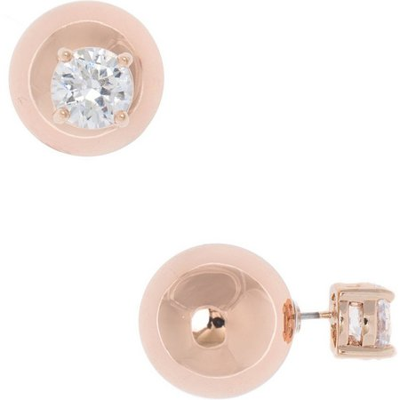 Anne Klein Rose Tone Ball Rhinestone Stud Earrings