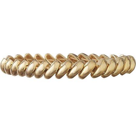 Anne Klein Gold Tone Thin Link Stretch Bracelet
