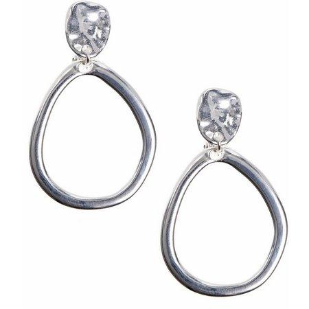 Anne Klein Silver Tone Open Teardrop Clip Earrings
