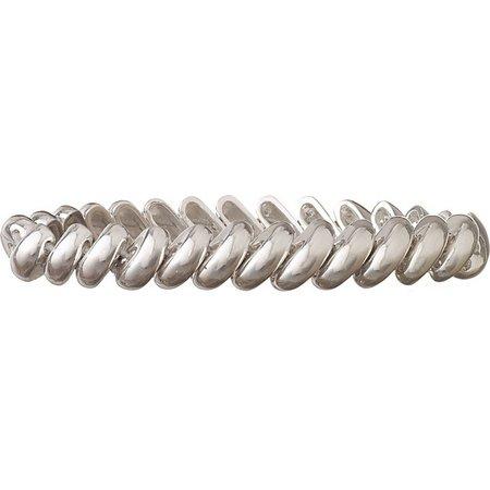 Anne Klein Thin Silver Tone Link Stretch Bracelet