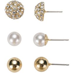 Gloria Vanderbilt Trio Gold Tone Earrings
