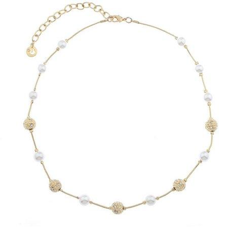Gloria Vanderbilt Gold Tone & Faux Pearl Necklace