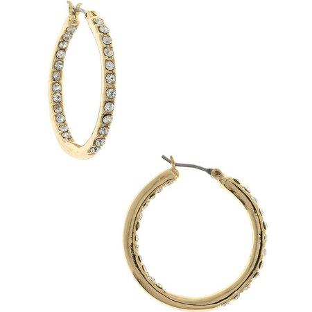Gloria Vanderbilt Gold Tone Click Hoop Earrings