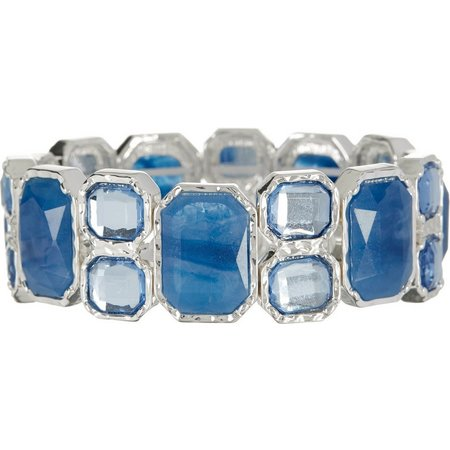 Gloria Vanderbilt Blue Rectangle Link Bracelet