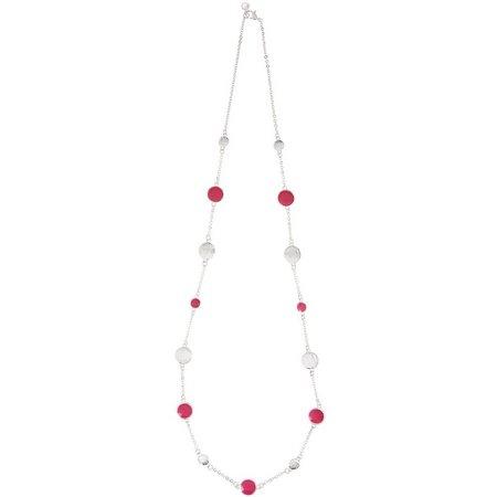 Gloria Vanderbilt Pink Enamel Disc Link Necklace