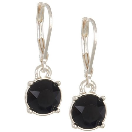 Gloria Vanderbilt Black Rhinestone Drop Earrings