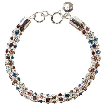 Gloria Vanderbilt Multi Stone Silver Tone Mesh Bracelet