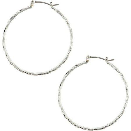 Gloria Vanderbilt Silver Tone Twist Hoop Earrings
