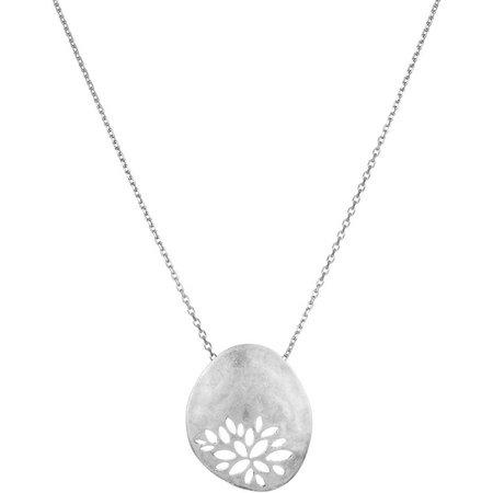 Sakroots Cutout Silver Tone Metal Pendant Necklace