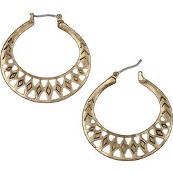 Sakroots Gold Tone Flat Etched Hoop Earrings