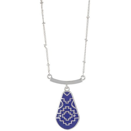 Chaps Bluffton Nights Blue Pendant Necklace