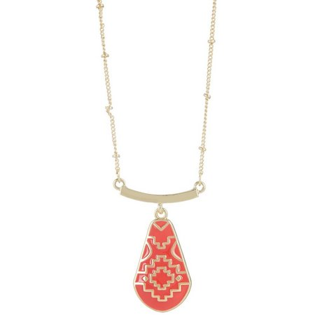 Chaps Bluffton Nights Coral Red Pendant Necklace