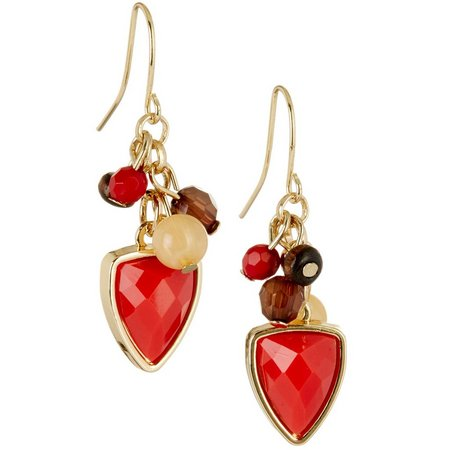 Chaps Bluffton Nights Coral Red Cluster Earrings