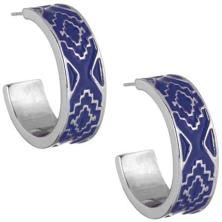 Chaps Bluffton Nights Blue Enamel Hoop Earrings