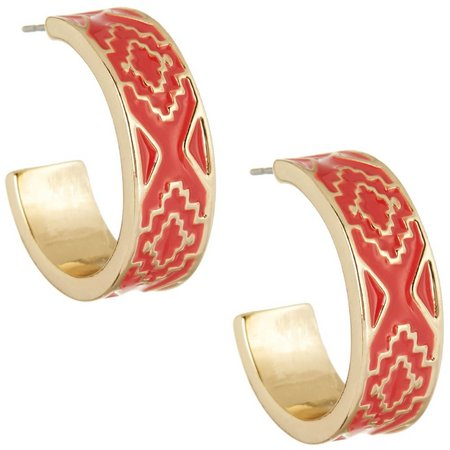 Chaps Bluffton Nights Coral Enamel Hoop Earrings