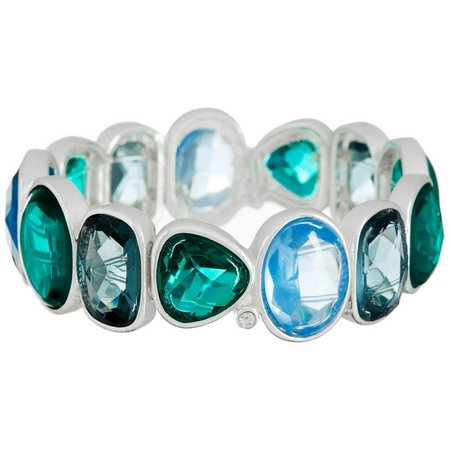 Chaps Blue & Green Multi Stone Stretch Bracelet