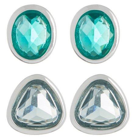 Chaps Blue & Green Stud Earring Set
