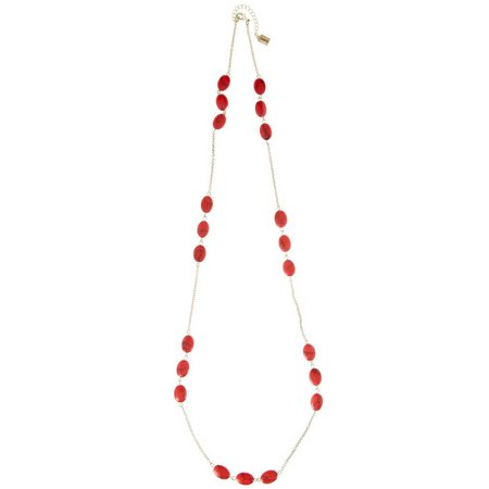 Chaps Coral Bead & Gold Tone Chain Necklace