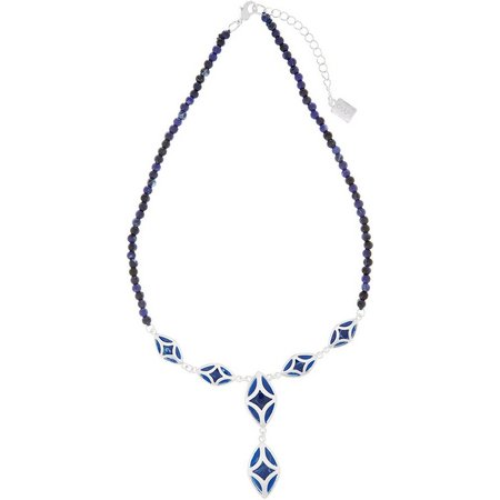 Chaps Blue Bead & Silver Tone Marquis Necklace