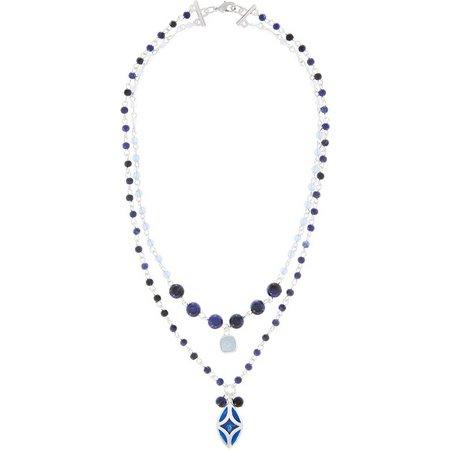 Chaps Blue Bead & Marquis Pendant Necklace