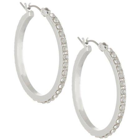 Chaps Rhinestone Silver Tone Hoop Earrings