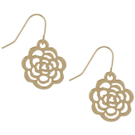 Chaps Gold Tone Rose Drop Earrings