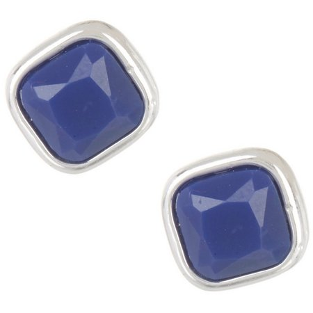 Chaps Silver Tone Blue Small Square Stud Earrings