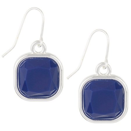 Chaps Blue Square Drop Earrings