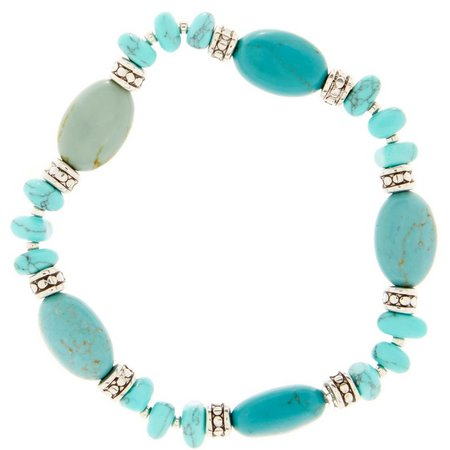 Chaps Turquoise Bead and Chip Stretch Bracelet
