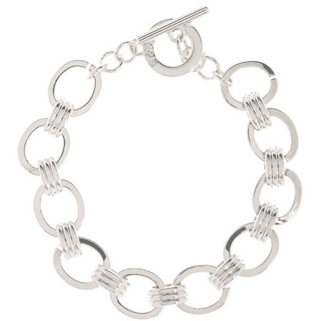 Chaps Silver Tone Oval Link Toggle Bracelet