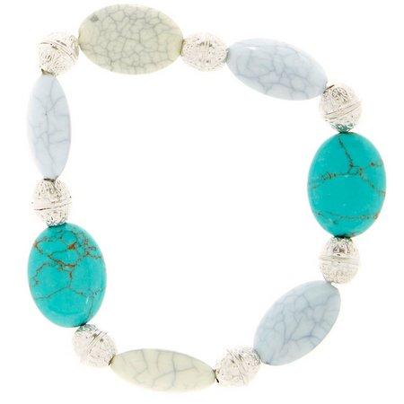 Chaps Turquoise Blue Howlite Mix Stretch Bracelet