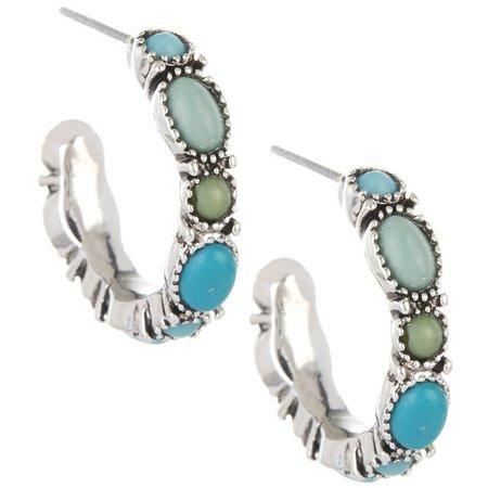 Chaps Turquoise Blue & Green Hoop Earrings