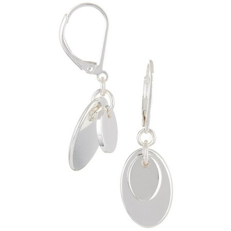 Chaps Silver Tone Oval Layered Disc Earrings