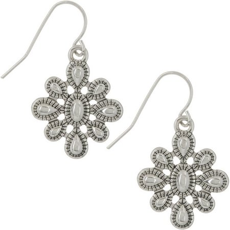 Chaps Textured Silver Tone Metal Drop Earrings