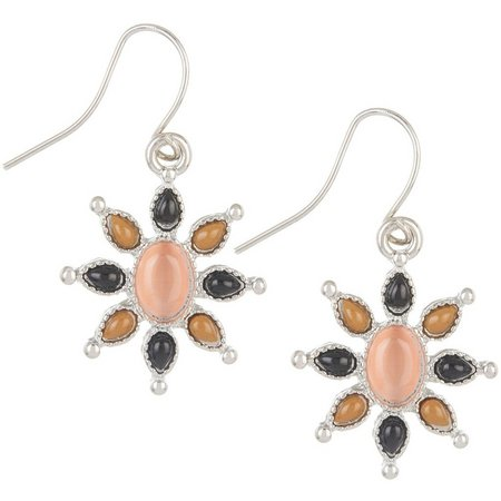 Chaps Cabochon Stones Flower Dangle Earrings