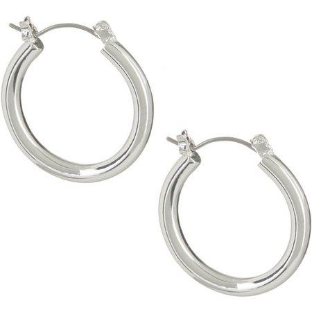 Chaps 25mm Silver Tone Hoop Earrings