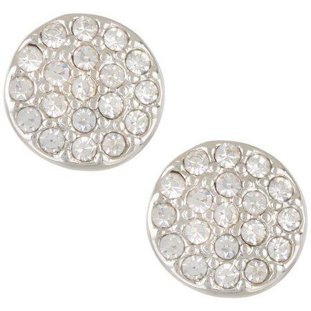 Chaps Pave Rhinestone Disc Stud Earrings
