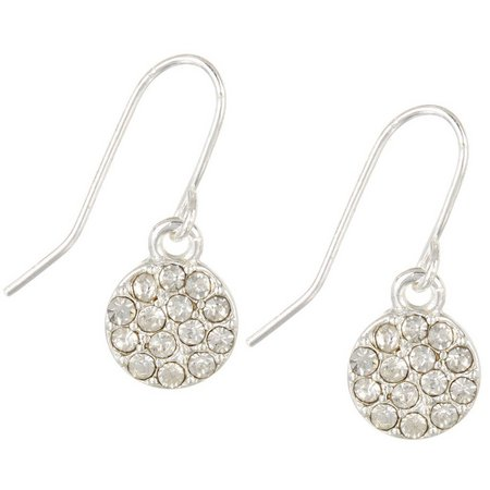 Chaps Clear Rhinestone Pave Disc Earrings