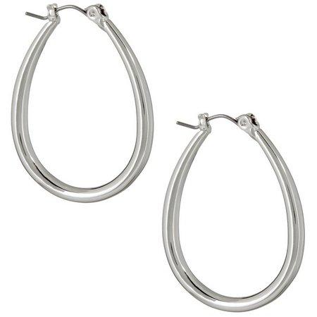 Chaps Silver Tone Oval Tubular Hoop Earrings